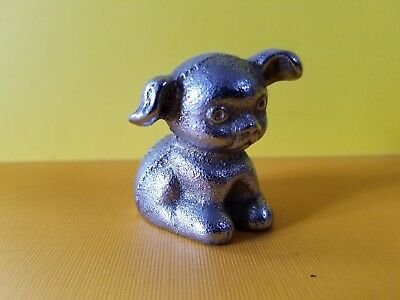 Vintage Bucki Carbons Ribbons Cast Iron Dog Paperweight Miniature