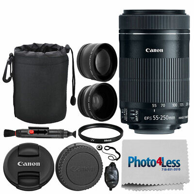 "Canon EF-S 55-250mm f/4-5.6 IS STM Lens + 6"" Lens Pouch + Wide Angle & Telephoto"