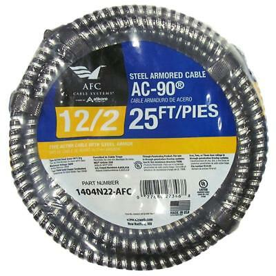 Armored Electrical Cable Solid BX-AC-90 Interlocking Grounded 12-Gauge 25 Ft