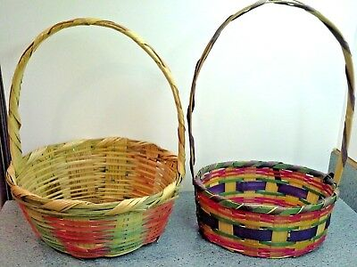 Two Vintage Mid Century EASTER BASKETS With Colorful Bands, Mexico and Japan