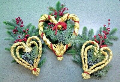 3 Swedish Woven STRAW HEARTS With Red Ribbon (Greenery and Berries Optional)