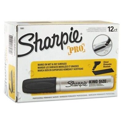 Sharpie Pro King Size Permanent Markers, Chisel Tip Powerful Black, (Pack of 12)