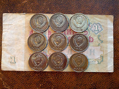 USSR: 2 Kopeek x 9 Coins & 1 Rouble Note (Different Years)