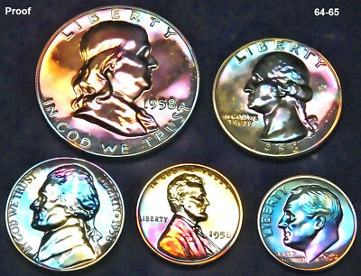 1958 Franklin High grade Proof set (5) with Holder Full Stage Toned 7 6 3
