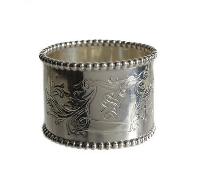 Towle Sterling Silver Napkin Ring, bead detail along rim, hand chased