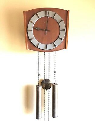Vintage Junghans Wall Clock Weight Drive Pendulum Chime Wood Face MCM Germany
