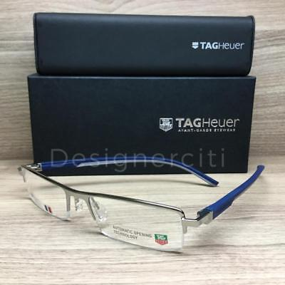 911778868d Tag Heuer TH 0822 TH0822 Eyeglasses Silver Blue Grey 004 Authentic 53mm