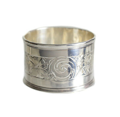 La Pierre Mfg. Co. Sterling Silver Napkin Ring, Hand chased floral design