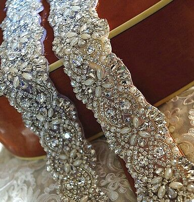 MAY SALE = Crystal Pearl Wedding Sash Belt = 18 1/4 INCHES = 7 COLORS