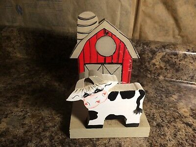 Vintage Handmade Wooden Cow and Barn Napkin Holder