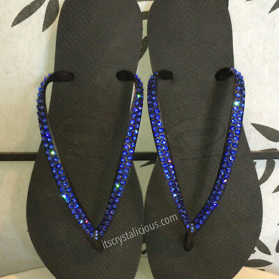 20a8f7c8ffd Black Havaianas embellished with Blue SWAROVSKI Crystal Bling Flip Flops- 2  Rows