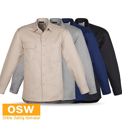 Mens Light Weight Vented Eyelets Cotton Twill Tradies Builder L/S Work Shirt