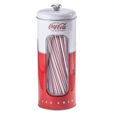 Coca-Cola Tin Retro Straw Dispenser Tinplate Steel Soda Machine Graphics Straws