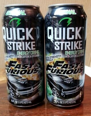 Pair Rare Fast & Furious Quick Strike Energy Drink Cans 16Oz Collectible Vhtf