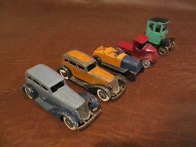 VINTAGE ANTIQUE 1930s ERA TOOTSIE TOYS DIECAST METAL GROUP OF 5 TOY CARS TRUCKS