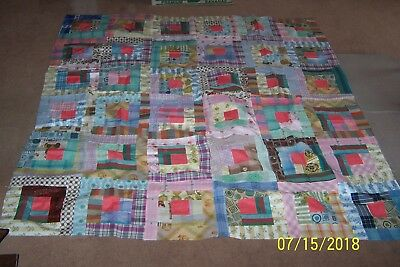 "Antique HAND-CUT Feedsack Feed Bag Squares or Blocks QUILT TOPPER 58"" x 58"" Size"