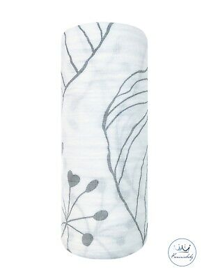 Kunininbaby Gray Autumn Muslin Baby Swaddle Blanket-70%Bamboo30%Cotton-47inX47in