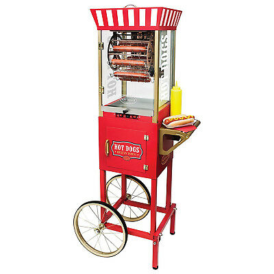 Rotating Hot Dog Grill Cart Cooker Vending Bun Brat Warmer Commercial Stand Red