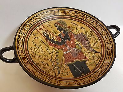Apollo Greek God Rare Hellenic Ancient Art Pottery Tray Aged Kylix