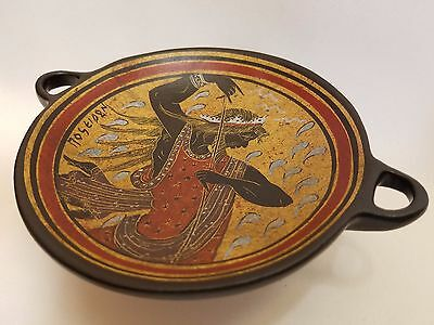 Poseidon Greek God Rare Hellenic Ancient Art Pottery Tray Aged Kylix