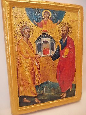 Saint Peter and Paul Byzantine Greek Orthodox Religious Icon on Real Wood