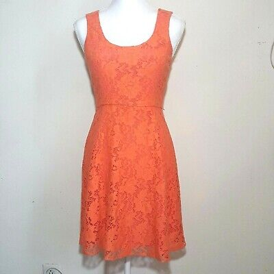 ANTHROPOLOGIE Ali Ro Women's Size 0 Fit & Flare Lace Overlay Peach Coral Dress