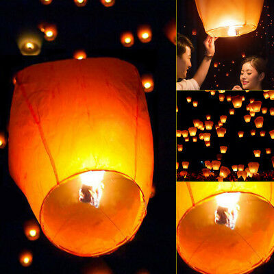 50Pcs Orange Color Chinese Paper Lanterns Sky Fly Candle Lamp for Wish Wedding