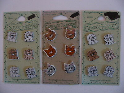 Trena's Trickets Ceramic Cat Buttons Set Of Three Cards