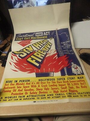 Vintage Capt Earl Mcdonald Daredevil Poster Sky High Fire Dive Worlds Fair Euc