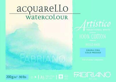 Fabriano Artistico 100% Cotton Water Colour Pads 12 Sheets-Cold Pressed 200g A5