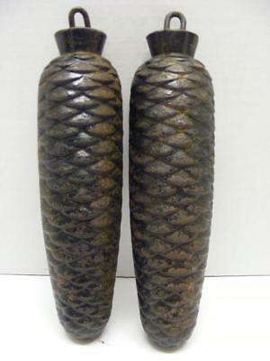 Pair of Heavy Pine Cone Cuckoo Clock Weights 1250g & 1225g Vintage 6.25""