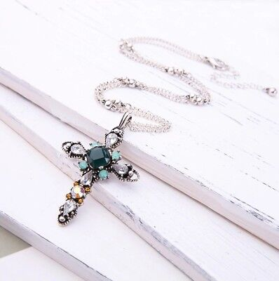 Vintage silver boho green & white crystal cross charm sweater pendant necklace