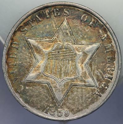 1859 Three Cent Silver - Almost Uncirculated Toned! - *DoubleJCoins* 172-04
