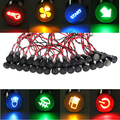 Waterproof 12V 24V 12mm Symbol LED Dash Panel Warning Pilot Light Indicator Lamp