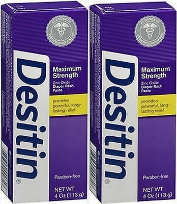 2X DESITIN Maximum Strength Diaper Rash Paste 4 oz NEW BUTT Paste lot of 2