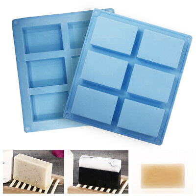 1 Piece 6 Cavities Long Square Soap Silicone Cake Mold 3D DIY Handmade Soap Mold