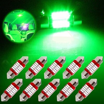 10x 31mm Super Green Festoon Car 10SMD Dome/Map/Cargo Bulb lights Lamp 12V