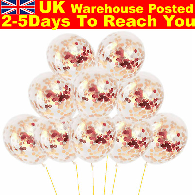 "10pcs 12"" Confetti Latex Balloons Rose Gold Helium Birthday Wedding Hen Party"