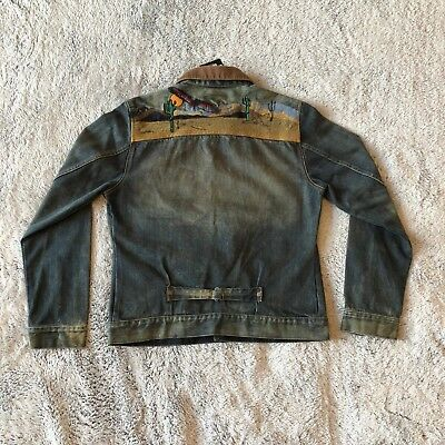 Barbour International Steve McQueen Denim Jean Jacket Sz Medium Embroidered Back