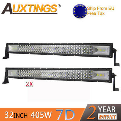 2X 7D Tri-Row 32'' 405W Combo LED Work Light Bar Spot Flood Jeep Truck Boat SUV