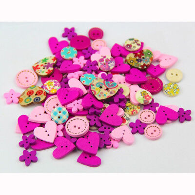 100pc 15mm Mix Sewing Craft 2 Hole Fashion Wooden Buttons Cloth Scrapbooking DIY