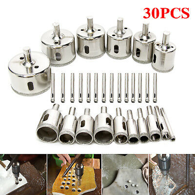 30pcs Diamond Cutter Hole Saw Drill Bit Tool Set For Tile Ceramic Glass 6-50mm