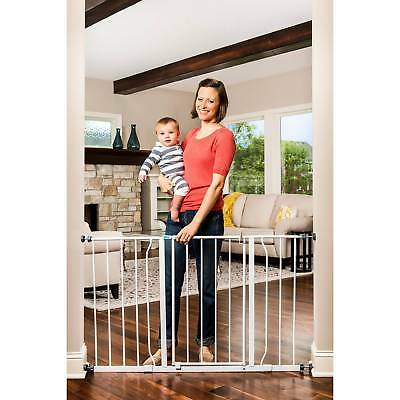 Baby Gate 29 Inch-50 Inch With Extensions Extra Wide Step Through Swinging Metal