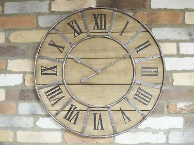 Rustic Vintage Antique Wood Metal Hands Decorative Wall Art Clock