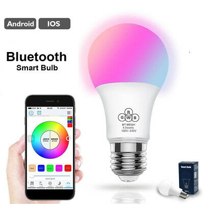 New LED Bluetooth Dimmable RGB Smart Light Bulb Wireless APP Remote Control Lamp