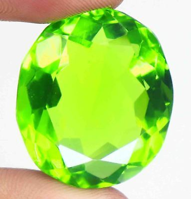 58.35 Ct EGL Certified Shiny Oval Shape Green Moldavite Gems For Pendant BU42