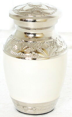 Mini Keepsake Small Cremation Urn for Ashes Funeral Memorial White and silver