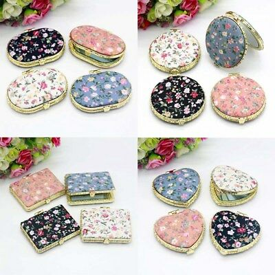 Portable Pocket Mirror Compact Double Side Round Heart Square Cosmetic Tool Gift