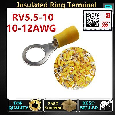 Insulated Yellow Cable Wire Ring Terminals Crimp RV5.5-10 Sleeve AWG 12-10 Hole
