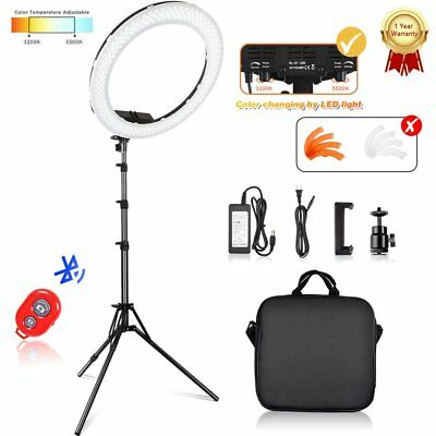 "50W 240PCS LED 12"" Ring Light 6200K Dimmable+Universal Adapter w/US Plug >90RA"